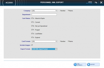 AC2000 WEB Personnel XML Export